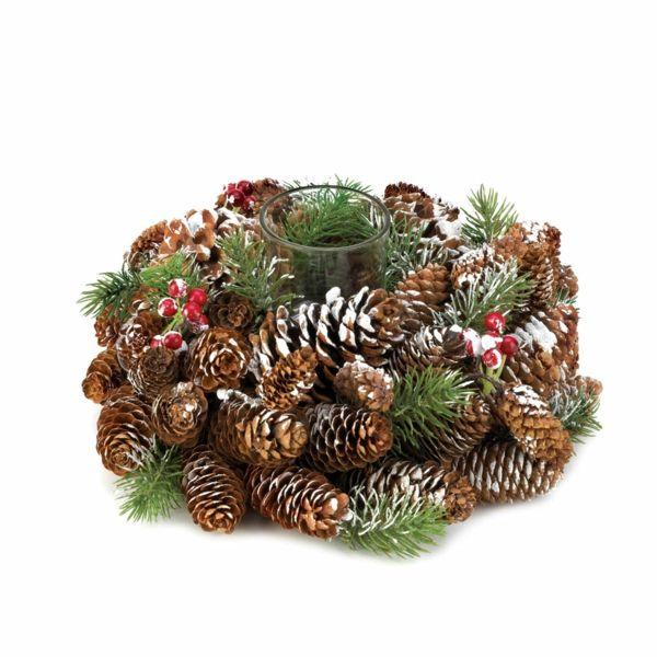 weihnachtsdekoration tischdeko zapfen kunstschnee grüne nadelbaumzweige