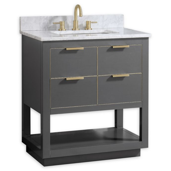 Avanity Allie 31 Inch Single Vanity Combo With White Marble Top And Mirror In Grey With Gold Trim Single Bathroom Vanity Vanity Combos Modern Bathroom Vanity