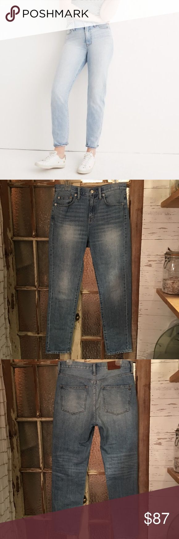 "Madewell perfect summer Jean, 28 These jeans are in high demand! No stretch, high waist. Perfect condition, very lightly used. I never even dried them in the dryer! Sorry about the lighting, they're not really that dark. Definitely a light wash, but not as light as the model in the picture. ""Our wear-every-day summer fit is here to stay (call 'em ""mom jeans""...if your mom was a '90s supermodel). With a high rise that perfectly accentuates the waist, this supersoft pair is a year-rounder. ""…"