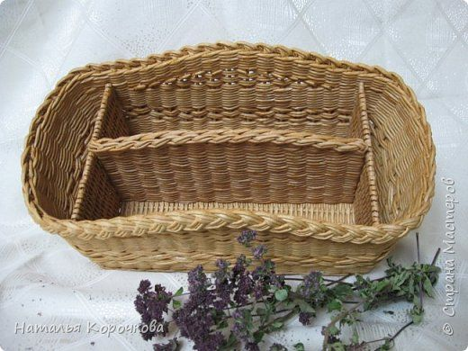 Поделка изделие Плетение Корзинка-органайзер на кухню Трубочки бумажные фото 5