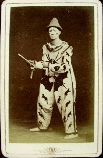 Carte de visite portrait of a Swedish clown or acrobat wearing a costume covered in bats, rats, and a spider #1870s #Sweden #Costume