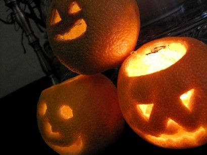 Orange Jack-o-Lanterns (what a cute idea and bet they smell good also)