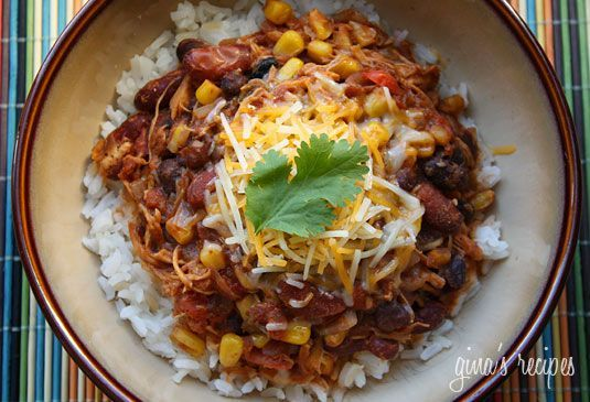 This chicken taco chili is one of my most popular recipes! The perfect slow cooker dish because you just dump all the ingredients in, turn it on and come back to the best tasting meal!