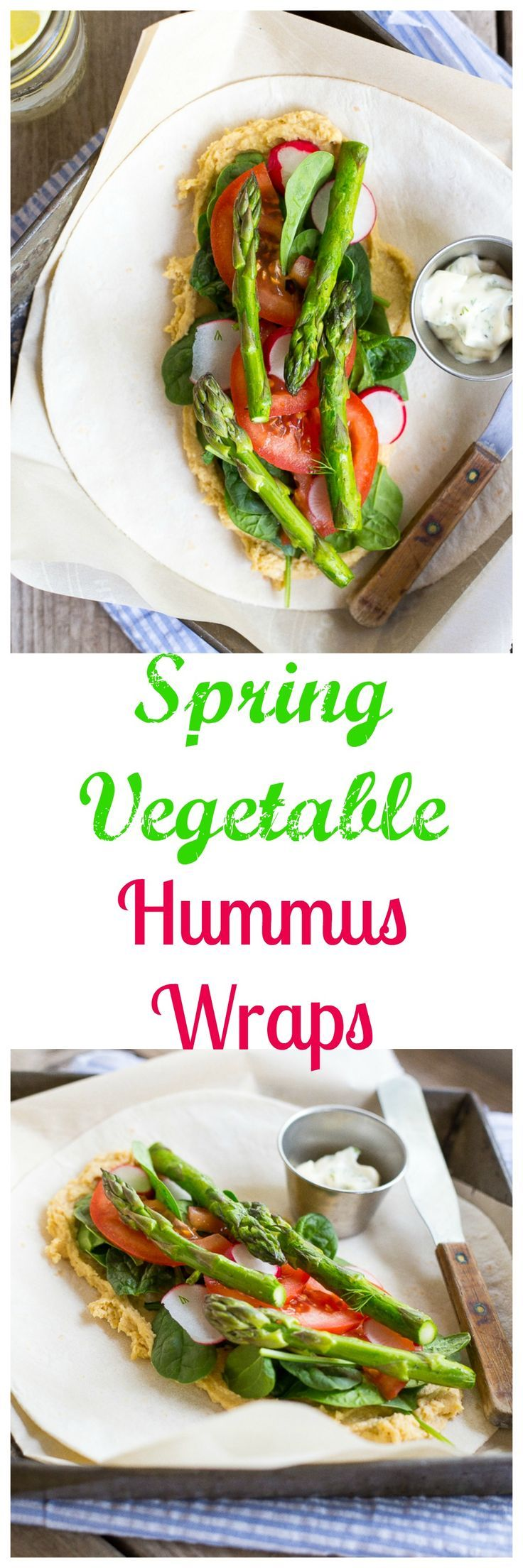 These Spring Vegetable Hummus Wraps with Herbed Mayo are so flavorful and delicious!  Perfect for a quick and easy lunch or dinner!