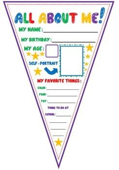 All About Me {Color} Could hang like bunting all around the room  or along the hall. OR do this with poem of self.