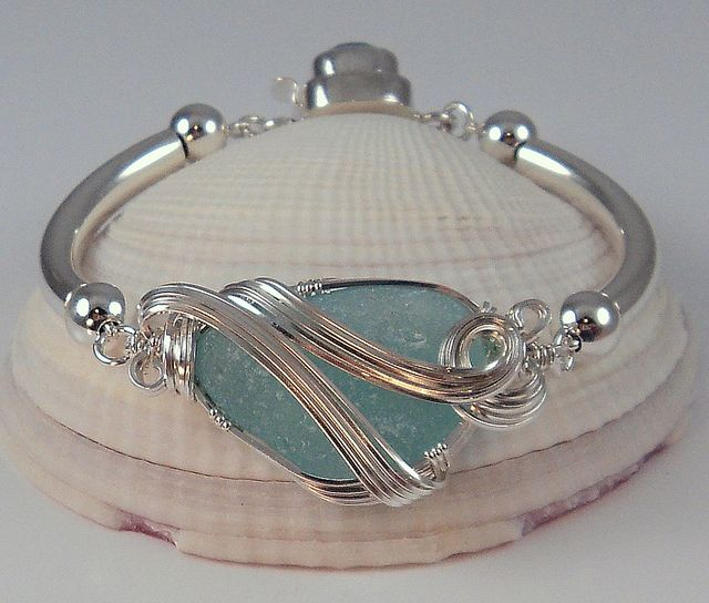 Sea Glass Jewelry~ Bangle Style Bracelet by Sea Glass Jewelry by Danielle Renee, via Flickr