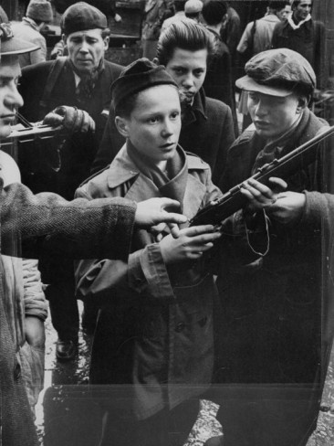 Budapest Boys Carrying Rifles to Fight with Hungarian Freedom Fighters Against Soviet-Backed Regime Premium Photographic Print by Michael Rougier from AllPosters.com