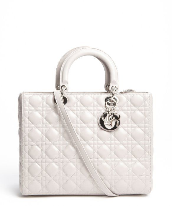 Christian Dior grey quilted leather large 'Lady Dior' convertible tote bag