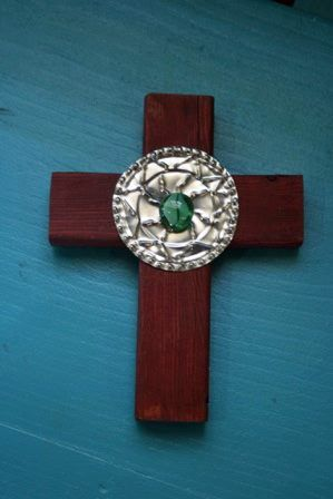 """Hand punched tin and wood cross by Michael Worthen, 8"""" tall, $30. #genswartists"""