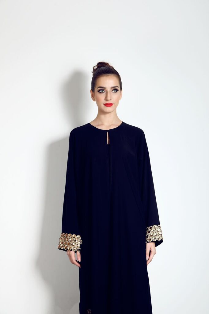 This Gold crystal sleeve Abaya with lace, is available now from our website for only £80