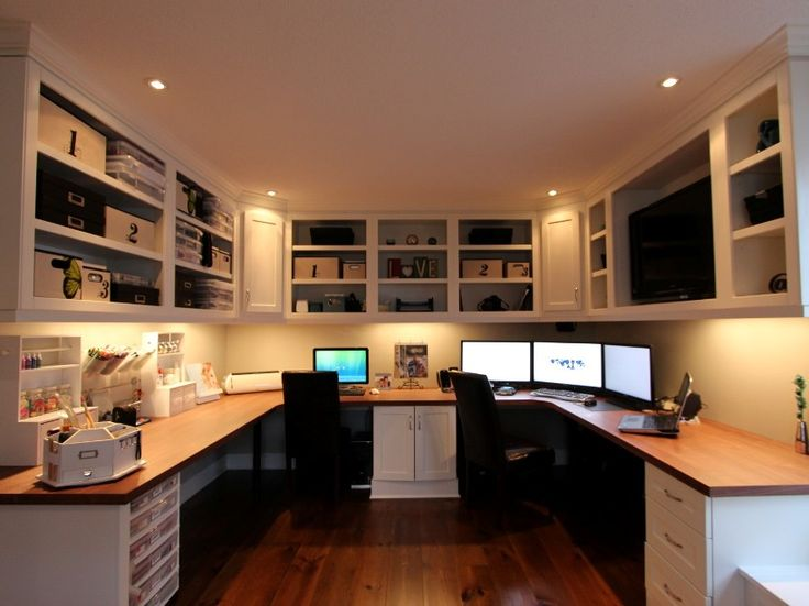 The Custom Cabinets Workspace For Two Or Three Or Four. Love This Home  Office Nook!