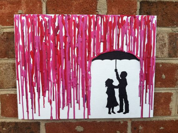 Melted Umbrella Crayon Art with Children's by lightandspoon, $35.00