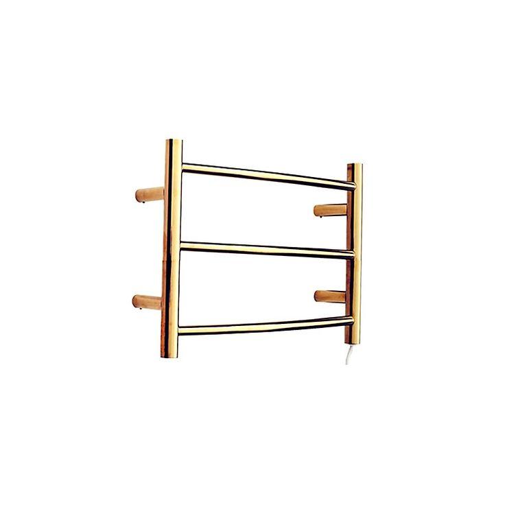 壁掛けタオルウォーマー タオルハンガー+簡易乾燥 ステンレス鋼 金色 TI-PVD 50W