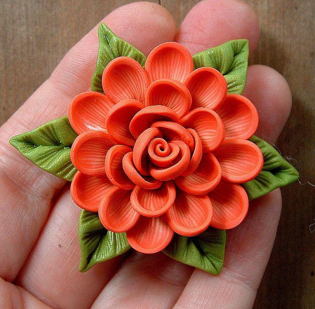 *POLYMER CLAY ~ Coral Cream Dahlia on Bright Green Leaves Pendant by ZudaGay, via Flickr