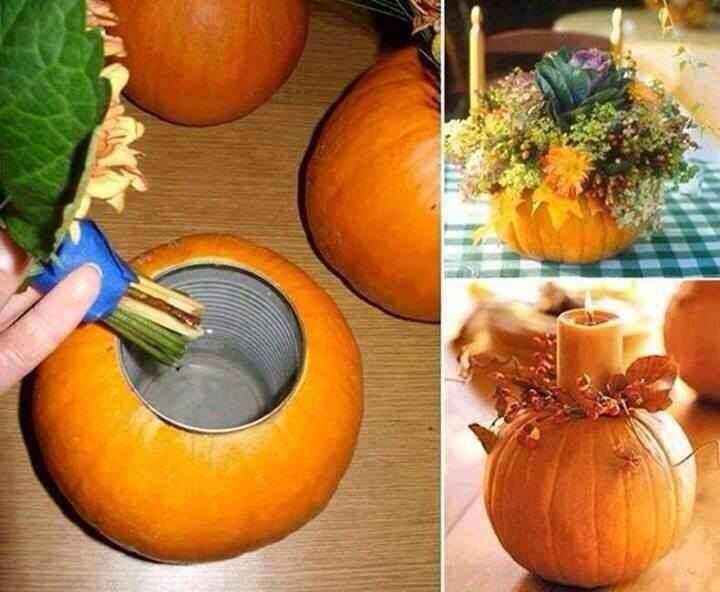 Thanksgiving centerpiece. Cut out the center of a pumpkin and clean it out, then place an empty clean can in the center and fill with your favorite fall flowers or a candle!