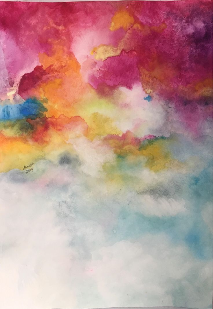 Beauty. Original Affordable Watercolor Abstract Painting, 11x15 Unframed Wall Art with Pink, Yellow, Blue. Customize it! by worDSMITHstudios on Etsy