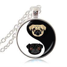 Yin Yang Pug Ketting Zwart en Tan Bulldog Hanger Hond Sieraden Geschenken Voor Pug Liefhebbers Rescue Sieraden, glas Dome(China (Mainland))