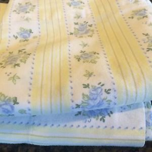 LAURA ASHLEY Blue Roses Yellow STRIPES FLORAL (PAIR) STANDARD PILLOWCASES GIRLS