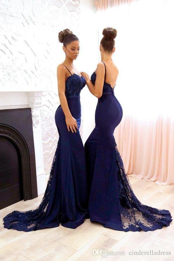 a3d63b6d0dd2 2018 Navy Blue Country Bridesmaid Dresses Mermaid Spaghetti Sweep Train Bridesmaids  Gowns Lace Applique Beads Wedding Guest Dresses BA7878