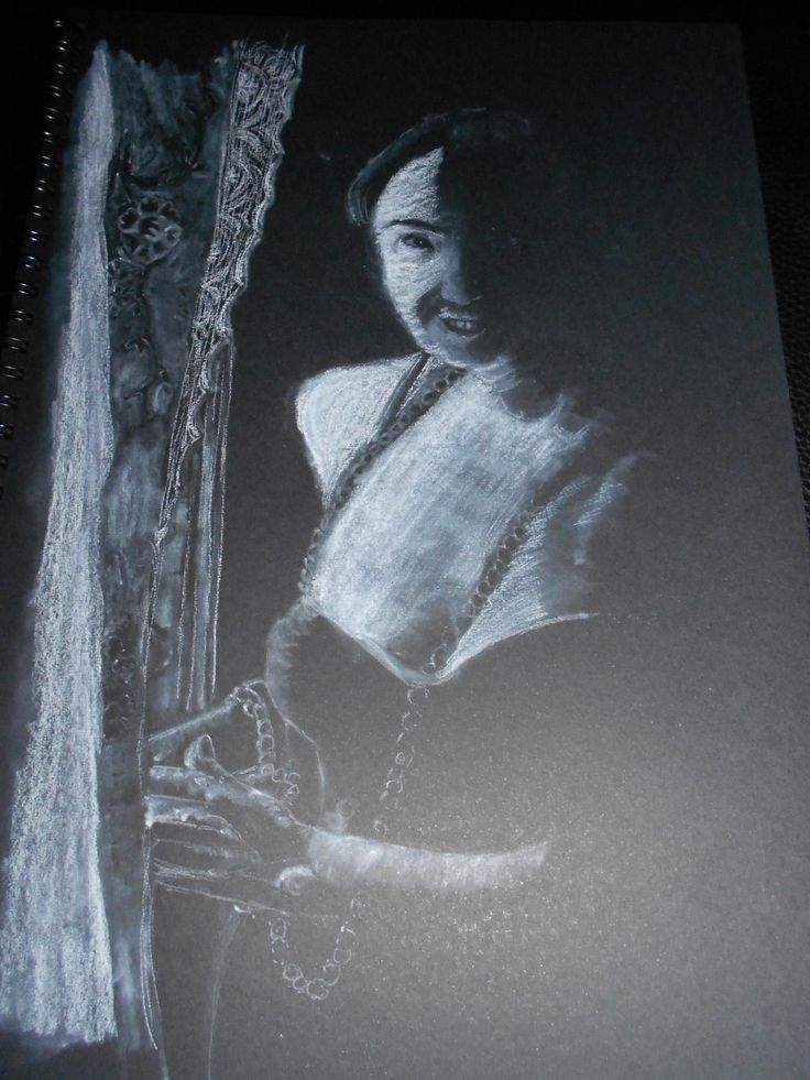 Vicki- White charcoal on black paper By Heather Anderson