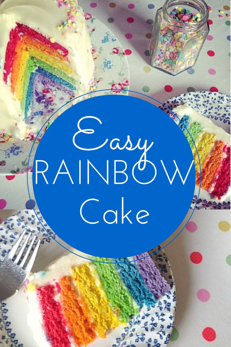 A delicious step by step UK-friendly recipe to make a bright and vibrant layered Rainbow Sponge Cake with Cream Cheese Frosting - perfect for birthdays!