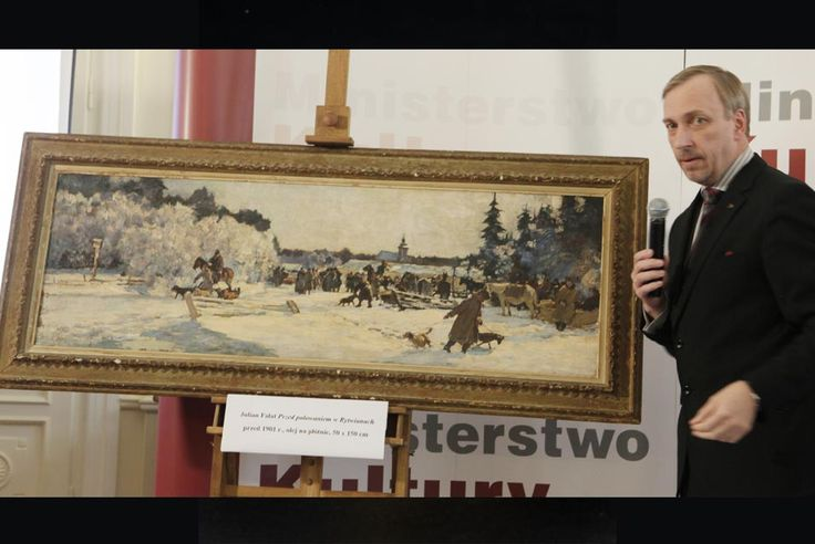 "Poland's Culture Minister Bogdan Zdrojewski unveils the oil painting ""Off to the Hunt"", one of two paintings by Polish painter Julian Falat (1853-1929), stolen by the Nazis during World War II and recently returned from New York to be given back to the National Museum in Warsaw, Poland, Tuesday, Oct. 4, 2011. The painting was seized for Poland after it was offered for an auction in New York. Photo/Czarek Sokolowski."