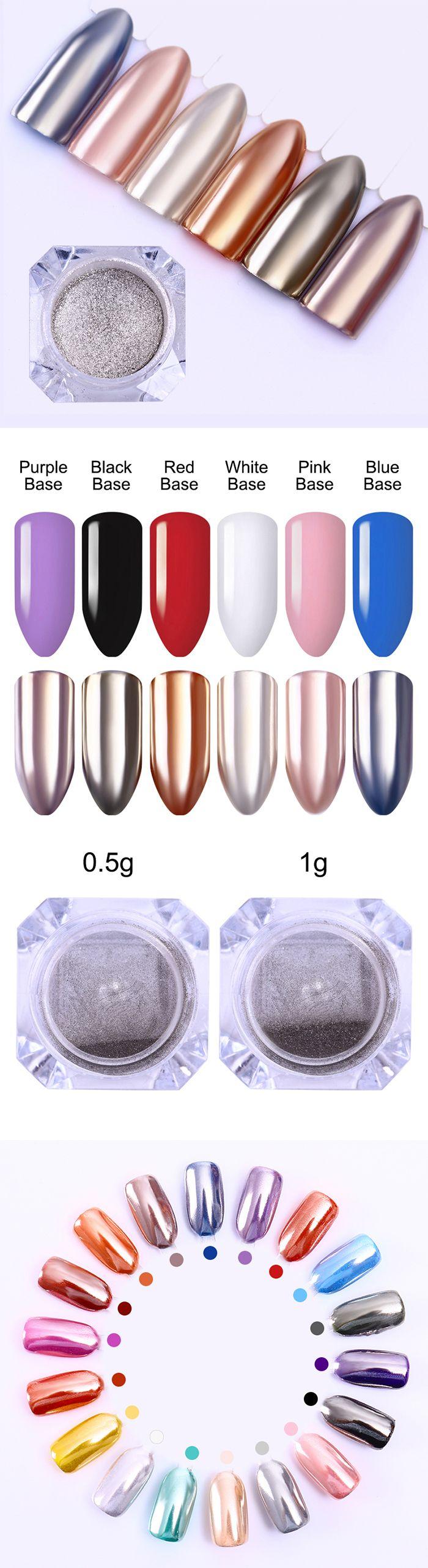 $1.49 1 Box BORN PRETTY Mirror Silver Nail Powder Shining Chrome Pigment Manicure Nail Art Glitter Dust - BornPrettyStore.com