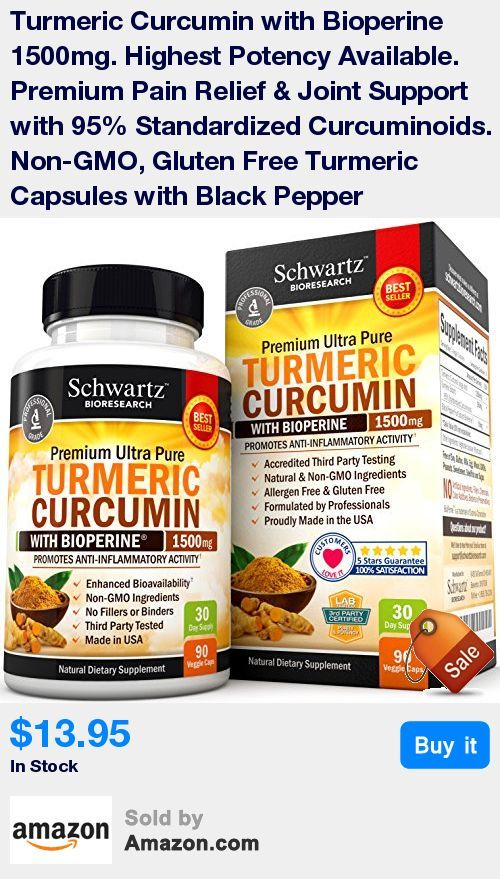 100% SATISFACTION GUARANTEE: Feel healthier and stronger or your money back, no questions asked! * HIGHEST POTENCY AVAILABLE TURMERIC PILLS ENHANCED WITH BIOPERINE: Schwartz Bioresearch turmeric formula has 1500mg of Turmeric Curcumin with 95% Standardized Curcuminoids per serving (Highest Potency) and 10mg of BioPerine (black pepper, curcumin with black pepper) for enhanced absorption and bio-availability. * ALL NATURAL, NON-GMO, FILLERS, BINDERS OR PRESERVATIVES: Our professional grade tur