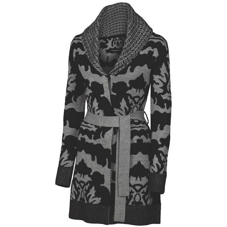 Neve Sophie Long Wrap Cardigan Sweater - Merino Wool (For Women) in Black