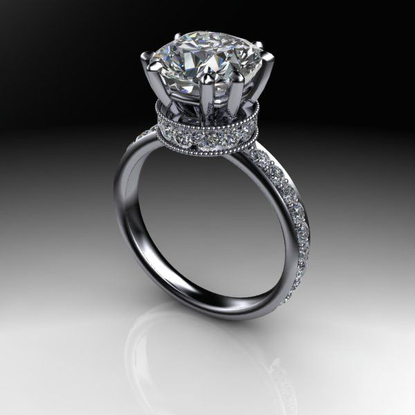 NEO Moissanite and Diamond Engagement Ring 3.90 CTW