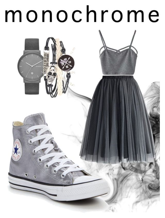"""GREY"" by kleefashion on Polyvore featuring WithChic, Chicwish, Converse and Skagen"