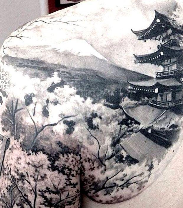 Tatouage d'un magnifique paysage japonais