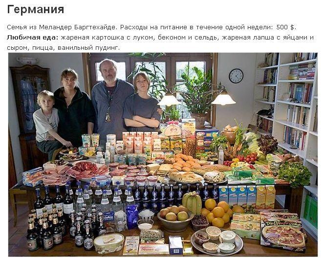Германия: семья Меландер из Bargteheide Расходы на продукты питания в течение одной недели: 375,39 евро, или $ 500,07 Любимые блюда: жареная картошка с луком, беконом и сельдь, жареная лапша с яйцами и сыром, пицца, ванильный пудинг