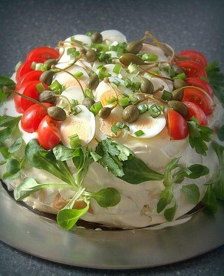 sandwich cake with tuna and eggs