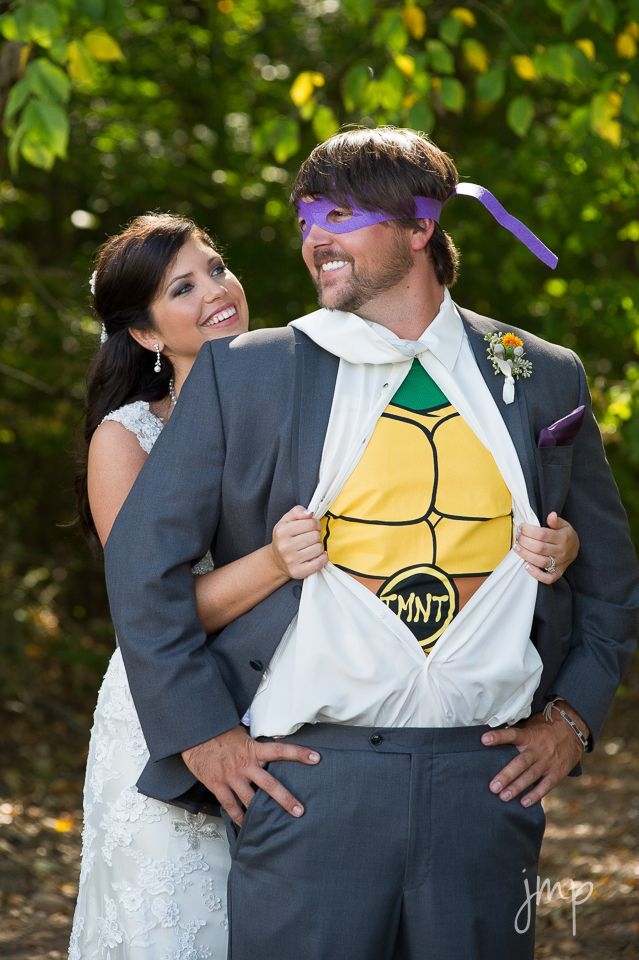 Wedding Photography, Ninja Turtles, Super Heros, Bride and Groom  www.jennifermcateerphotography.com
