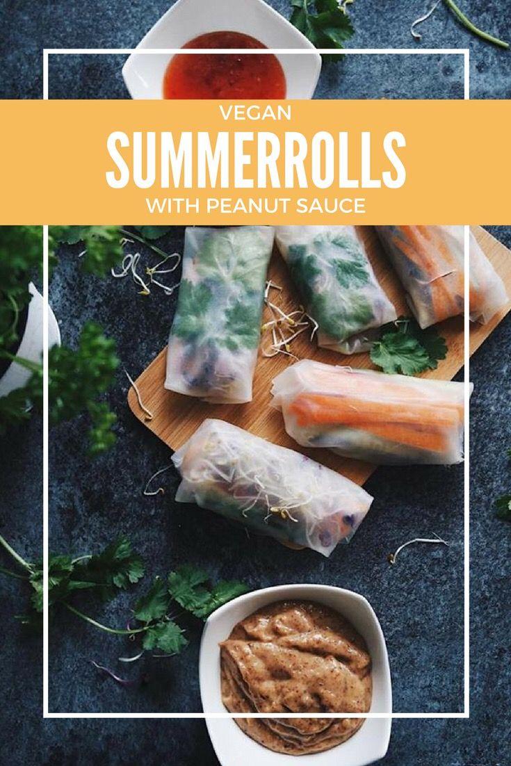 Vegane Sommerrollen mit Erdnuss Sauce - Rezept auf dem Blog.