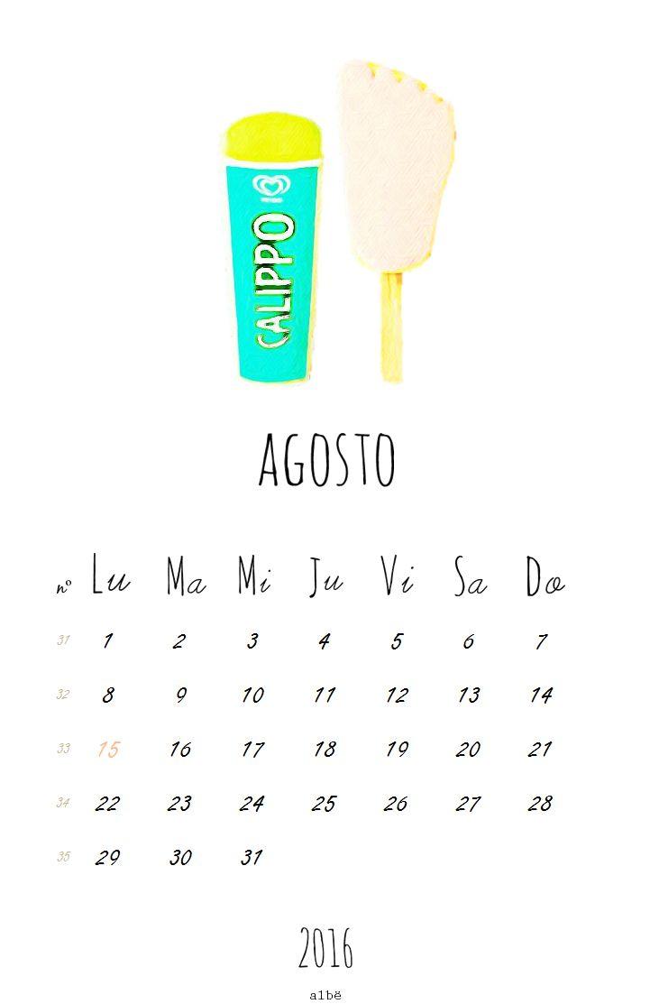 Calendario agosto 2016. Descárgalo gratis en  www.albe.tictail.com