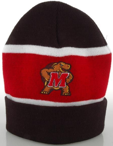 CPUM53 Knit Cap Striped University of MD Turtle BlackRed