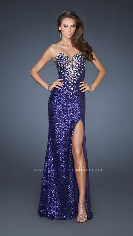 { 18456 | La Femme Fashion 2013 } La Femme Prom Dresses - Sequined Gown - Side Slit - Jeweled Bodice - Illusion Sweetheart V