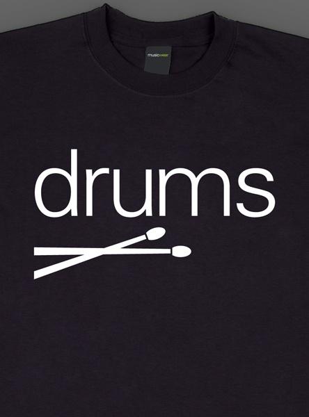 Remera musicwear  drums blanco sobre negro