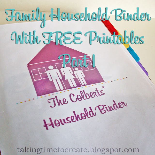 Taking Time To Create: The Household Binder {FREE Printables!} Part 1: To Do's, Food, & Home Maintenance