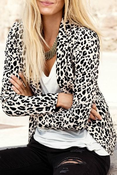 Leopard Print Lapel Long Sleeve Blazer