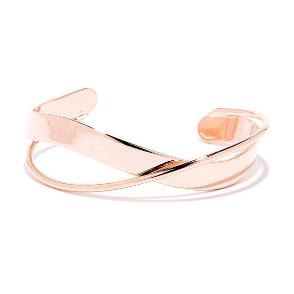 Around the Bend Rose Gold Bracelet (£9.21) ❤ liked on Polyvore featuring jewelry, bracelets, gold, imitation jewelry, pink gold bracelet, fake jewelry, adjustable bracelet and pink gold jewelry