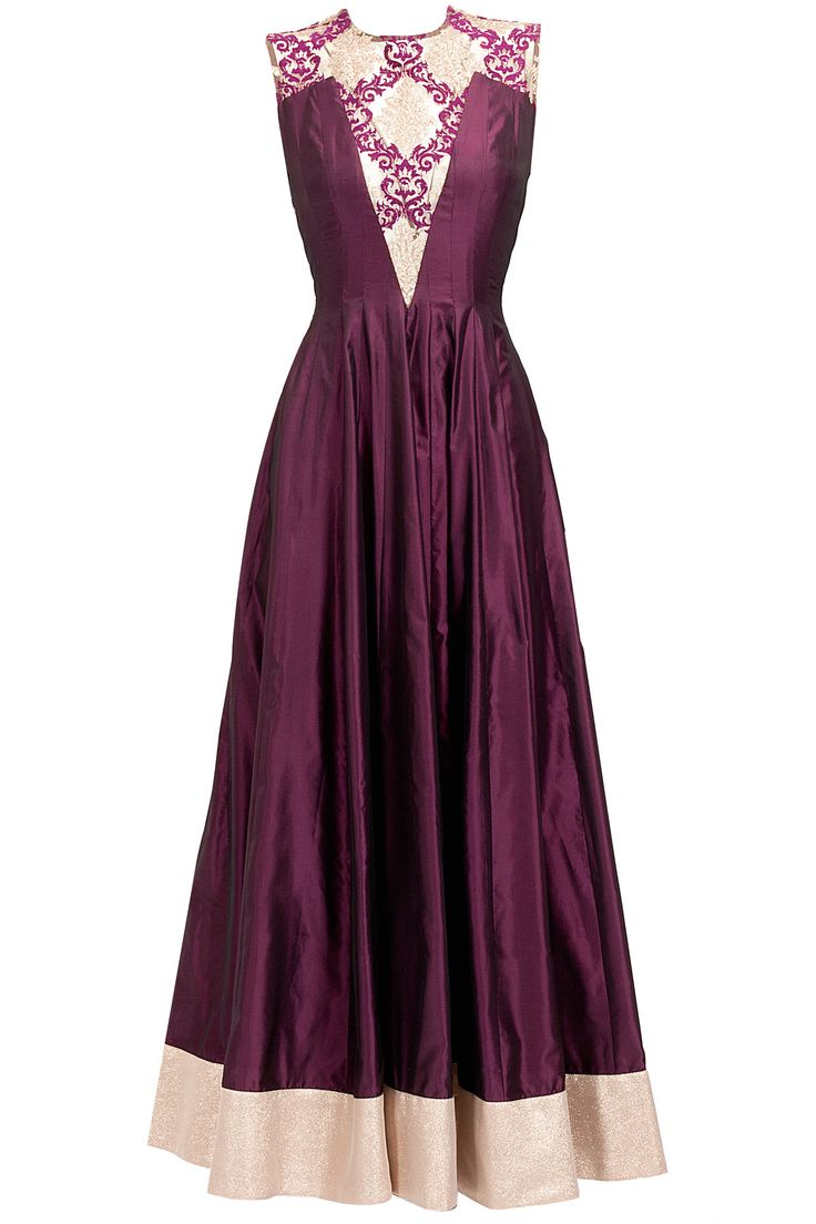 Aubergine sheer embroidered anarkali set available only at Pernia's Pop-Up Shop.