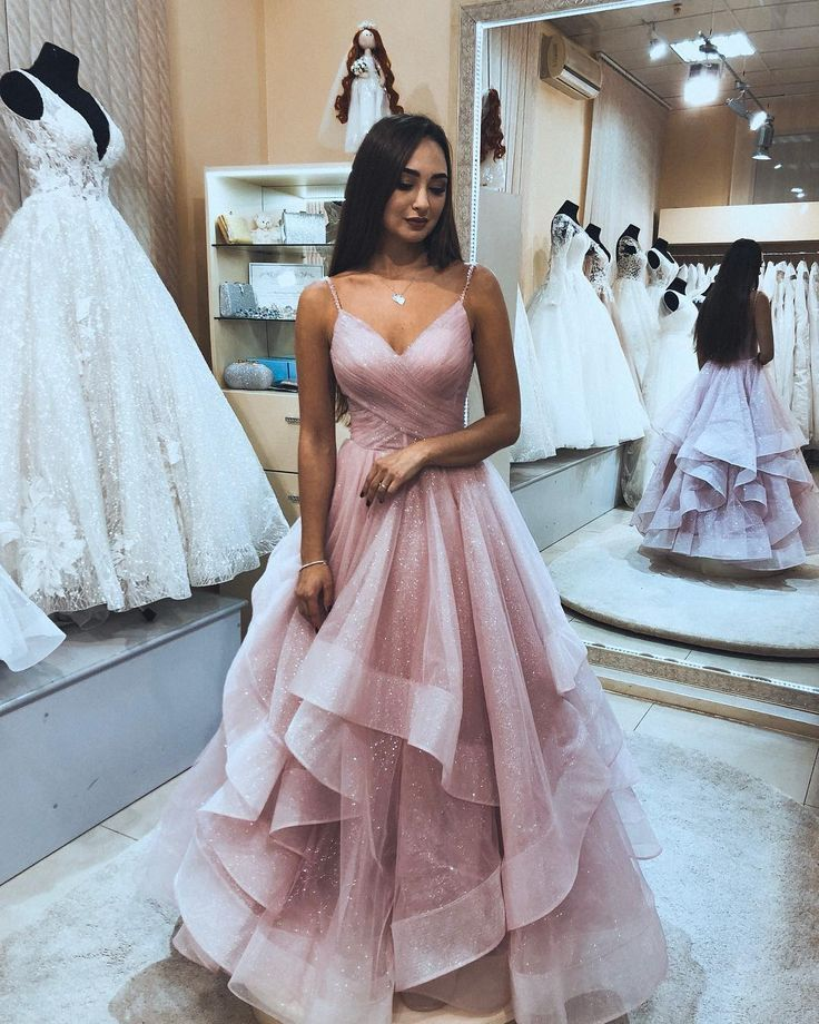 Princess Pink Tulle Long Prom Dress from wendyhouse
