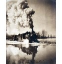 1907 Illinois Railroad Train Going Through Water