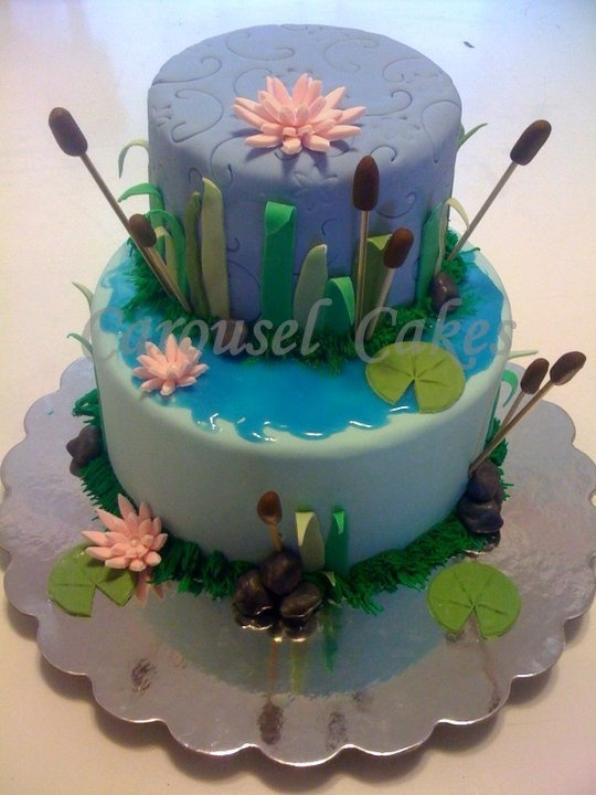 princess and the frog cake inspired by another cake online. (figurines added later)