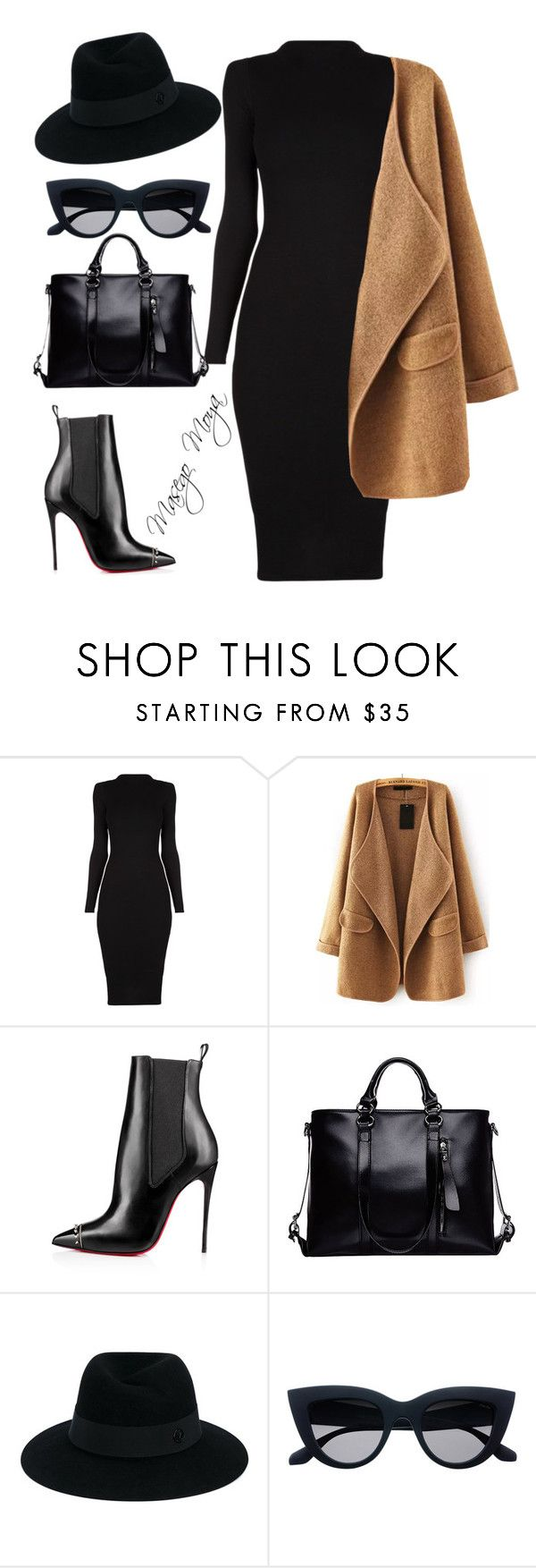 """Funeral Outfit"" by masego-moya ❤ liked on Polyvore featuring Christian Louboutin and Maison Michel"