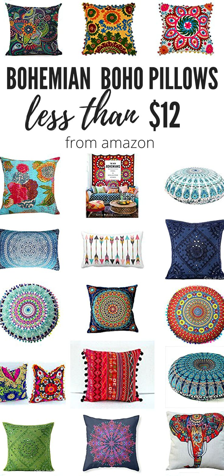 Affordable Bold and Colorful Bohemian Throw Pillows and Boho Chic Pillow Covers!