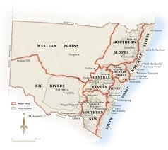 nsw wine. map of wine regions.